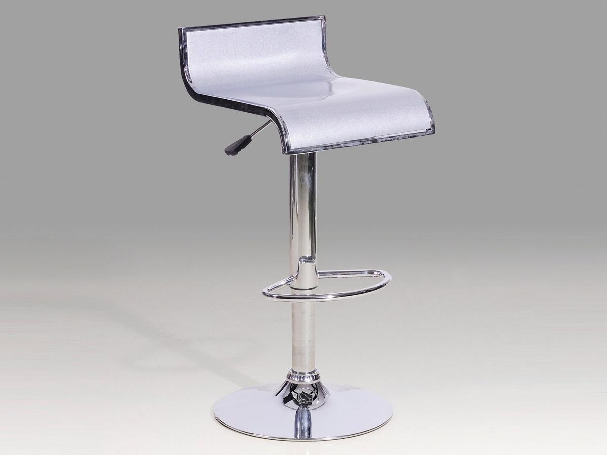 High gloss silver bar stools x2