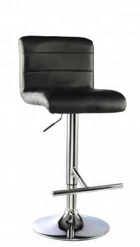 Chome bar stools x2 in Black faux leather tops