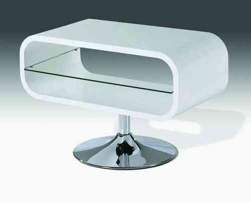 White High Gloss Tv Unit stand with Glass shelf