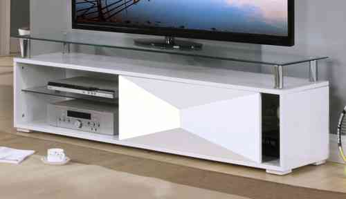 White High Gloss Television Unit With Glass Top