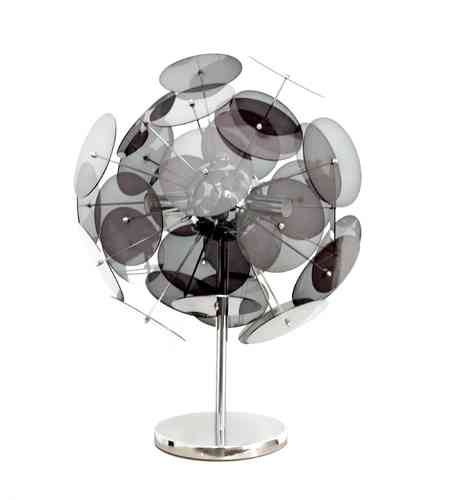 Chrome Table Lamp - Black Shades
