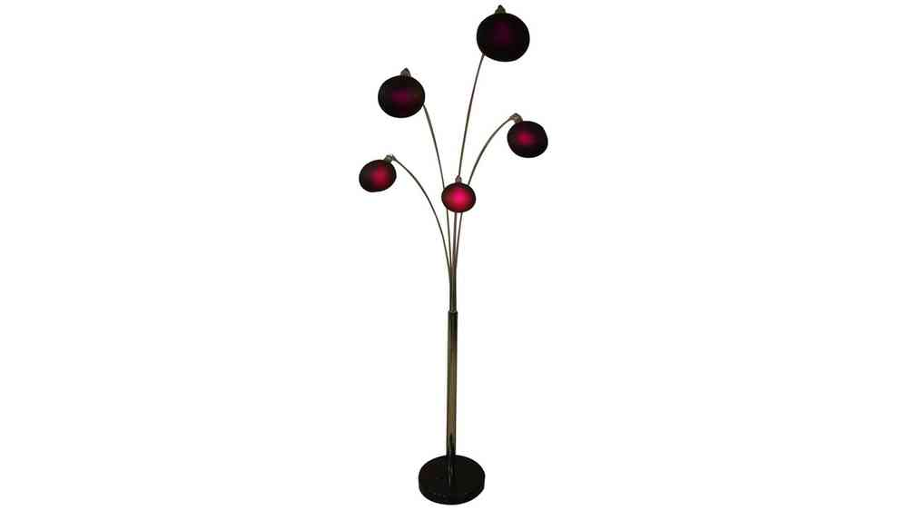 Purple shades 5 arm chrome floor lamp homegenies purple shades 5 arm chrome floor lamp aloadofball Image collections
