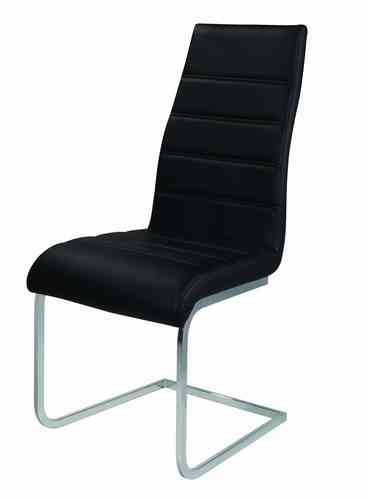 Black High Backed Faux Leather Dining Chairs