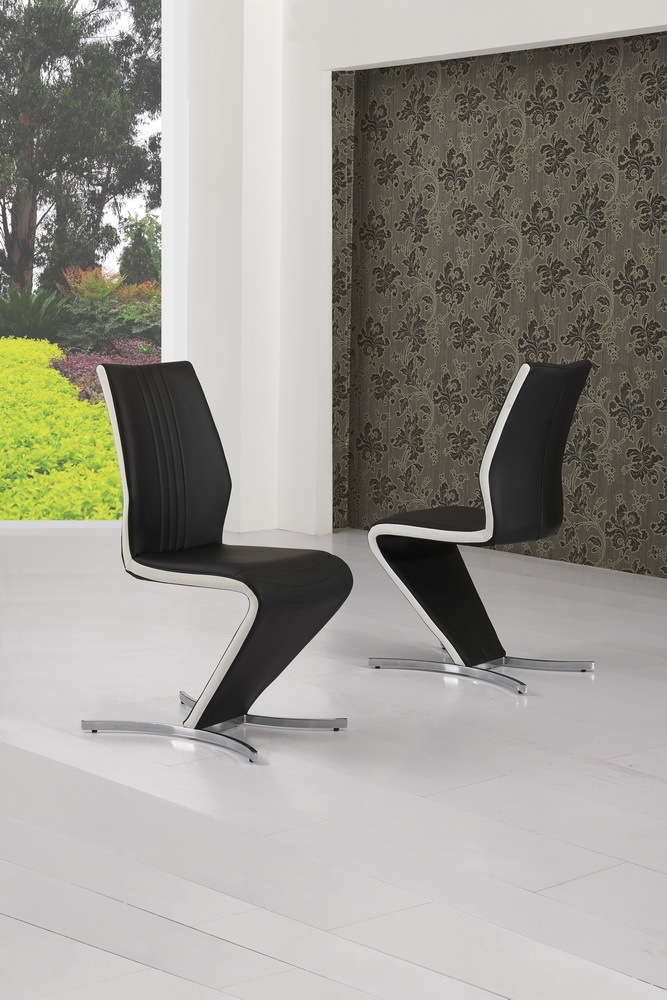 Z Dining Chairs In Black Faux Leather White Stripe