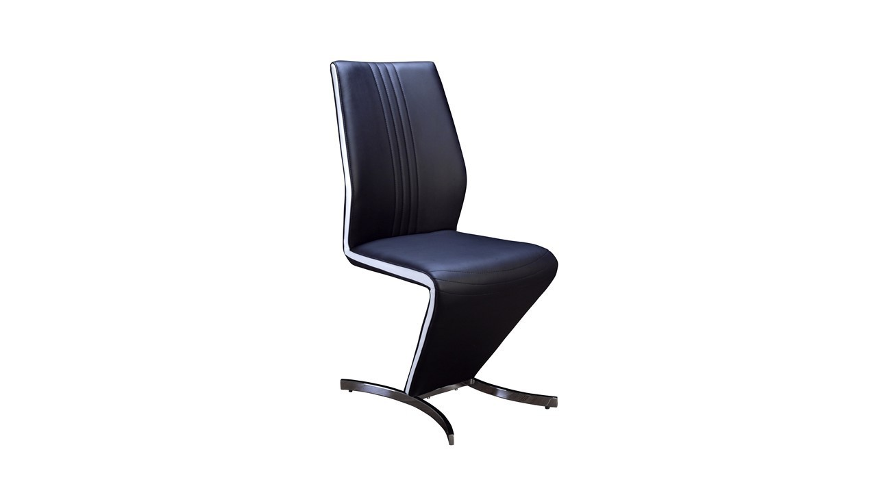 Z dining chairs in black faux leather white stripe for Black leather dining room chairs