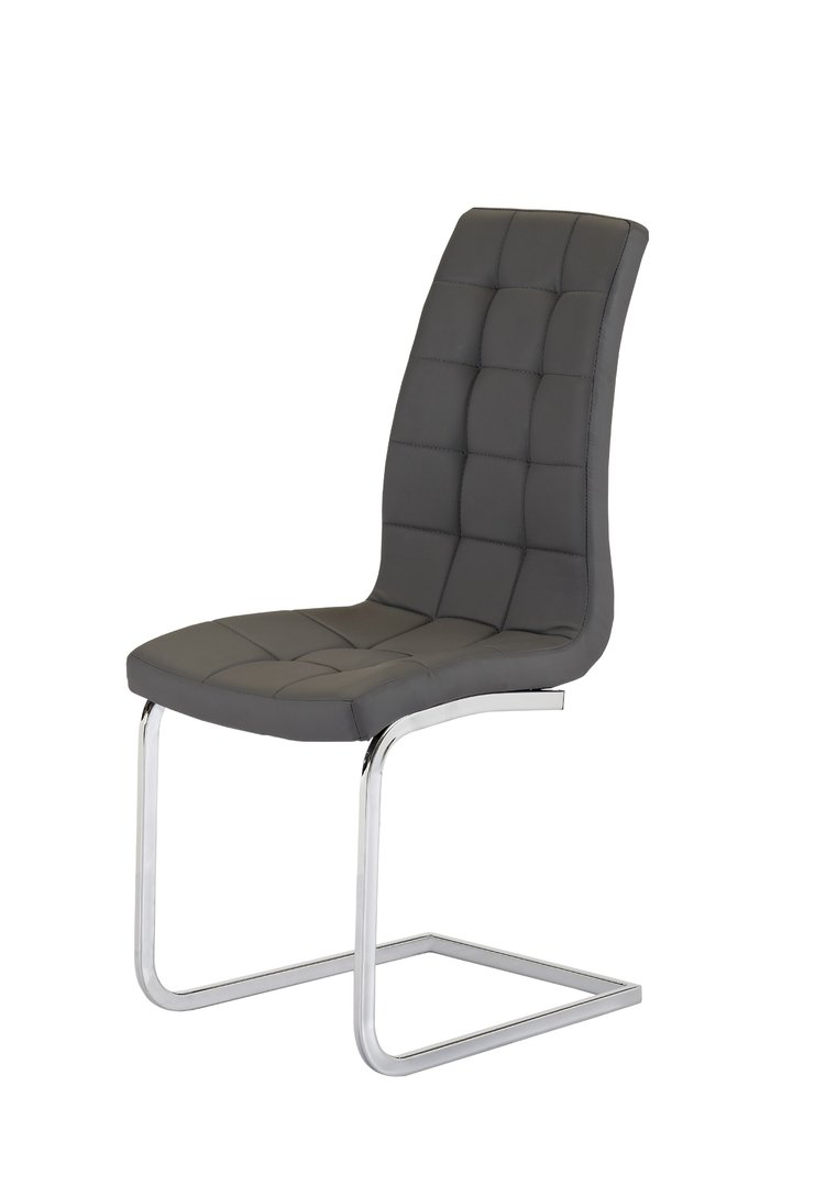 Grey Faux Leather Dining Chairs Pair Homegenies