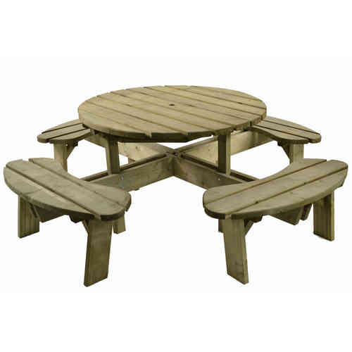 Round Wooden 8 Seater Picnic Bench Table Set