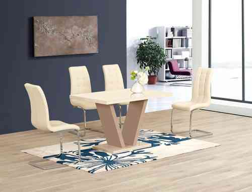 Cream High Gloss Glass Dining Table and 4 Chairs