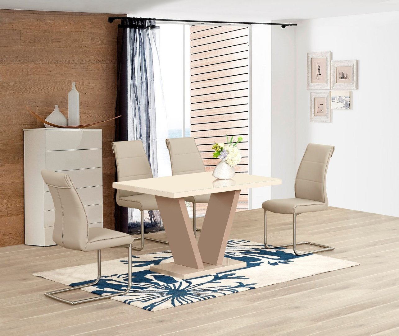 Cream High Gloss Dining Table And 4 Taupe Chairs Homegenies