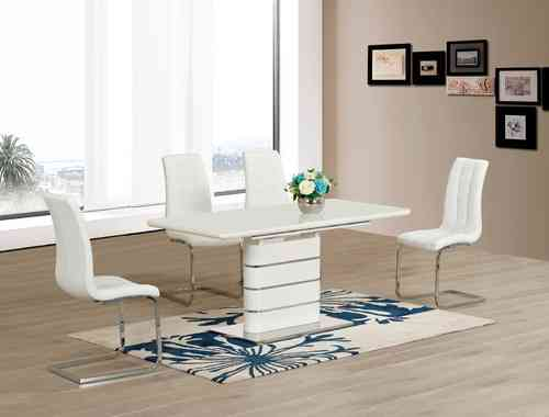 White glass with High Gloss Dining table and 6 Chairs