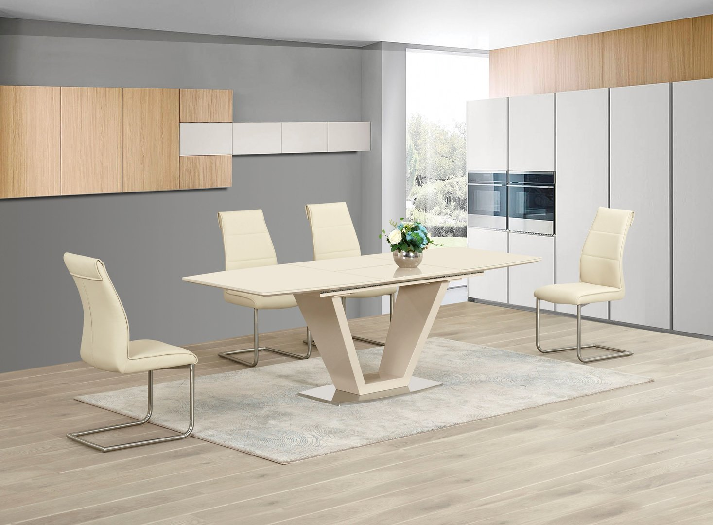 Extending Cream Glass High Gloss Dining Table Amp 6 Cream Chairs