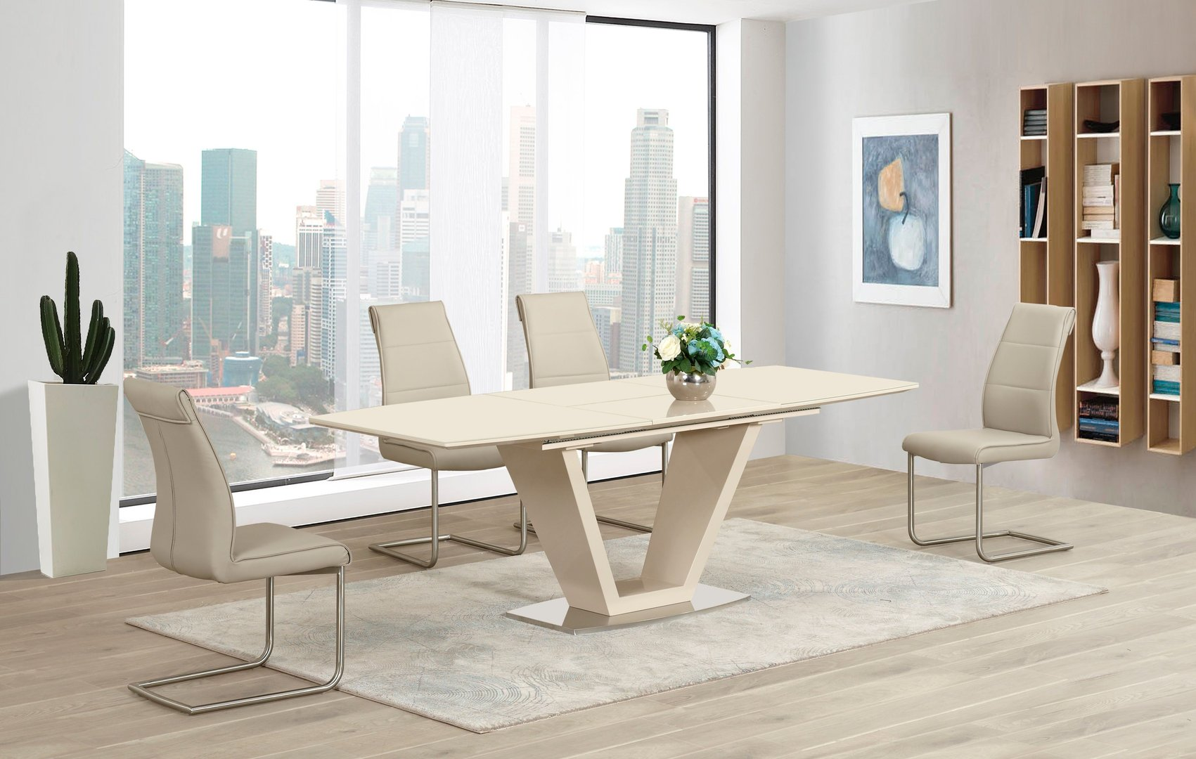 Cream Extending Glass High Gloss Dining Table and 6 Taupe Chairs