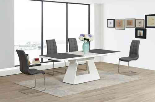 Grey / White Extending High Gloss Glass Dining Table and 8 Chairs set