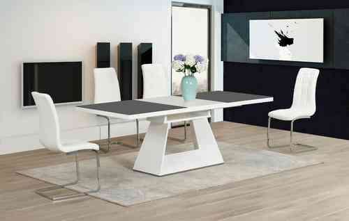High Gloss Glass in Grey / White Dining Table and 8 Chairs set