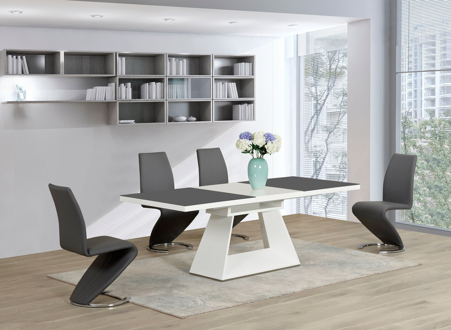 White glass high gloss extending dining table and 6 grey z for White dining table 6 chairs