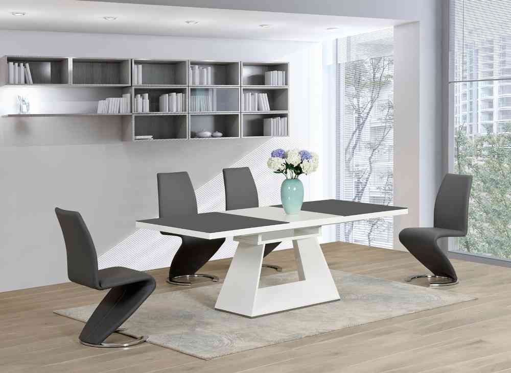 White Glass High Gloss Extending Dining Table And 6 Grey Z Chairs Set