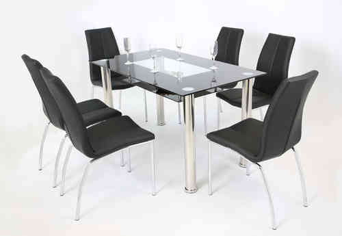 Black and Clear Glass Dining Table and 6 Chairs