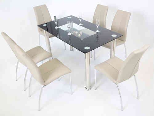 Black Glass Dining Table and 6 Mink Grey Chairs