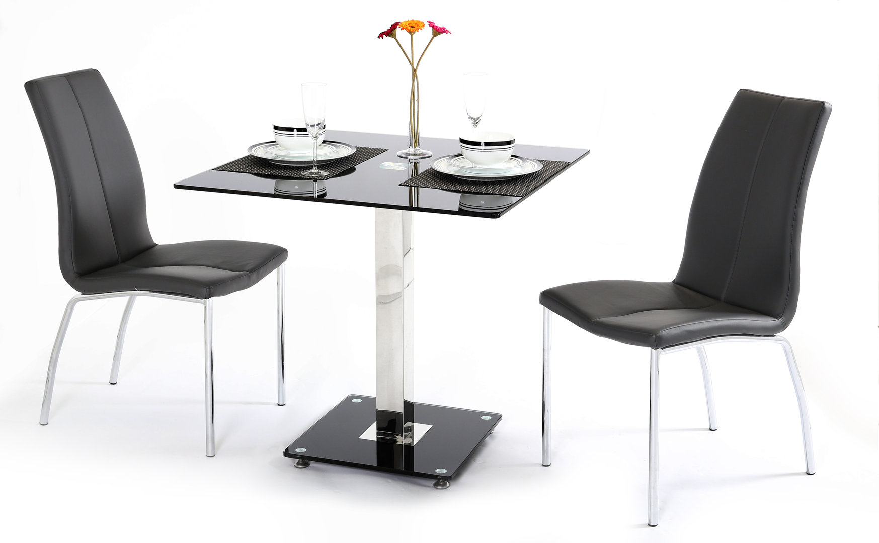 black glass dining table and 2 chairs homegenies. Black Bedroom Furniture Sets. Home Design Ideas