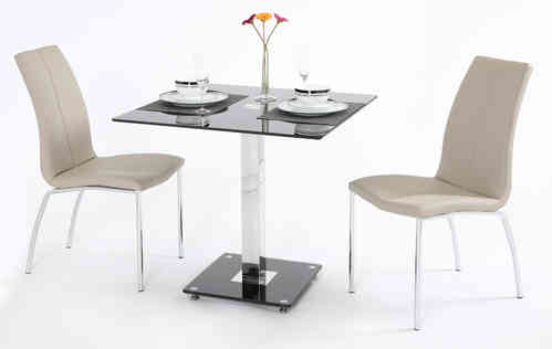 Black Glass Dining Table and 2 Mink Grey Chairs