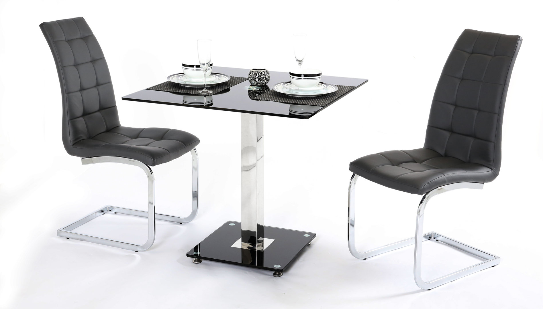 Ordinary Glass Dining Table For 2 Part - 6: 2 Seater Black Glass Dining Table And Chairs ...