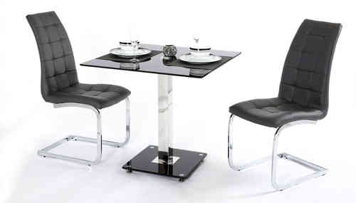2 Seater Black Glass Dining Table and Chairs