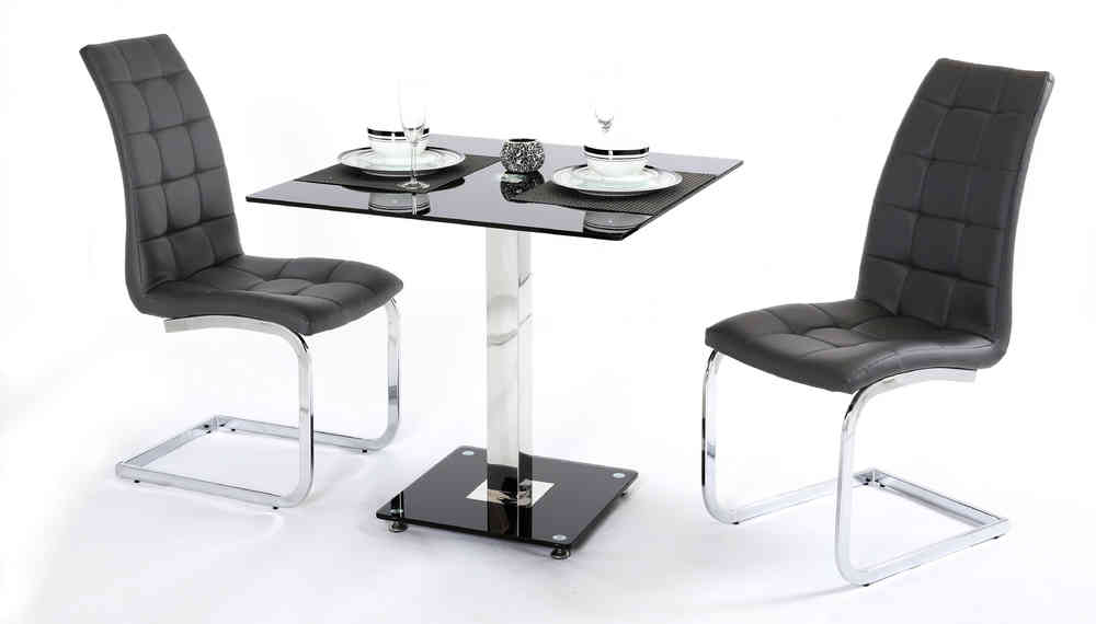 de31d9955c4d 2 Seater Black Glass Dining Table and Chairs - Homegenies