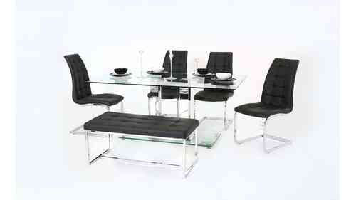 Clear Glass Dining Table With Chair and Bench Set