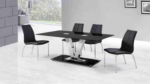 Black Glass Dining Table and 6 Black Dining Chairs