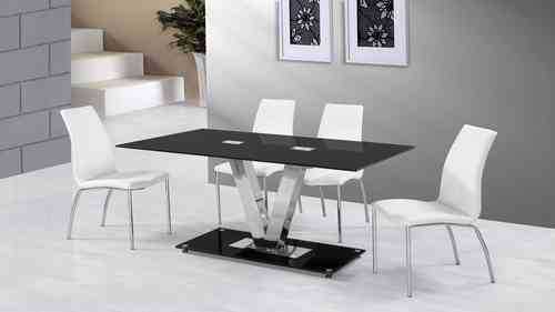 Black Glass Dining Table and 6 White Dining Chairs