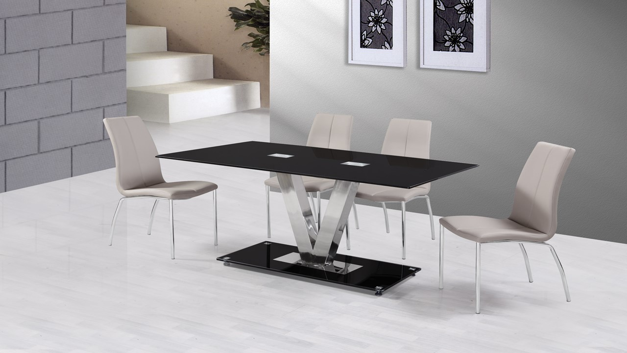 Grey Dining Table And Chairs Choice Image Dining Table Ideas : blackglassdiningtableand6Greychairs from sorahana.info size 1280 x 720 jpeg 135kB