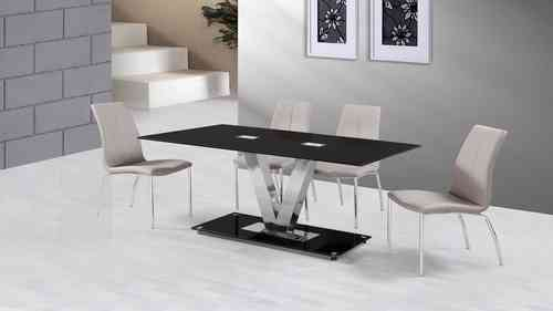 Black Glass Dining Table and 6 Grey Dining Chairs