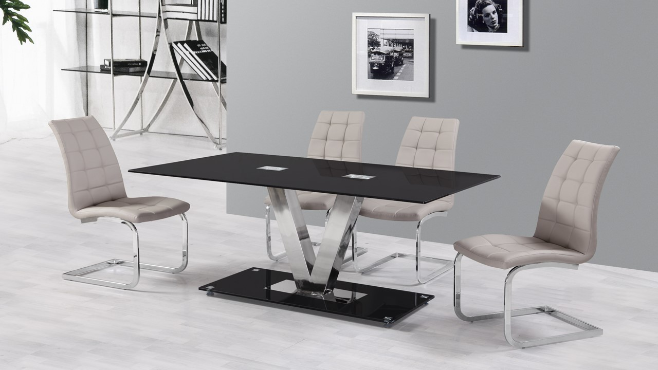 6 Seater Black Glass Dining Table And Grey Chairs Homegenies