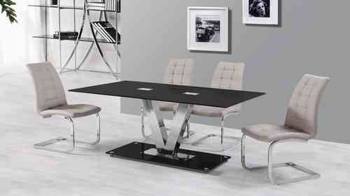6 Seater Black Glass Dining Table and Grey Chairs