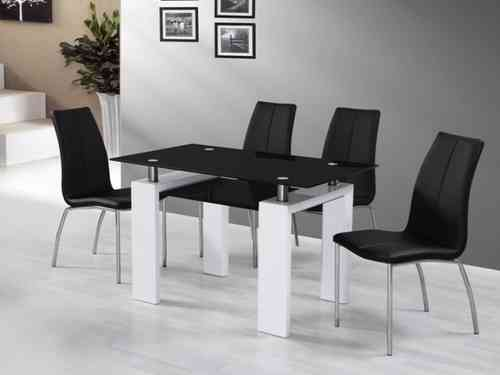 White High Gloss Black Glass Dining Table and 4 Black Chairs Set