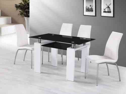 White Gloss Black Glass Dining Table and 4 Chairs