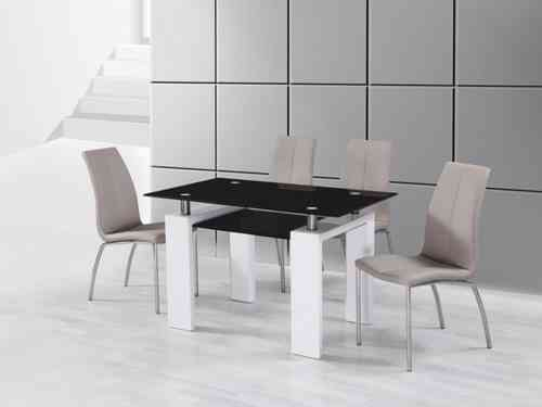 White High Gloss Black Glass Dining Table and 4 Mink Grey Chairs Set