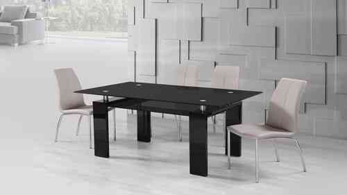 Black Glass High Gloss Dining Table and 6 Mink Grey Chairs Set