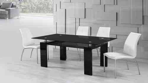Black Glass High Gloss Dining Table and 6 White Dining Chairs set