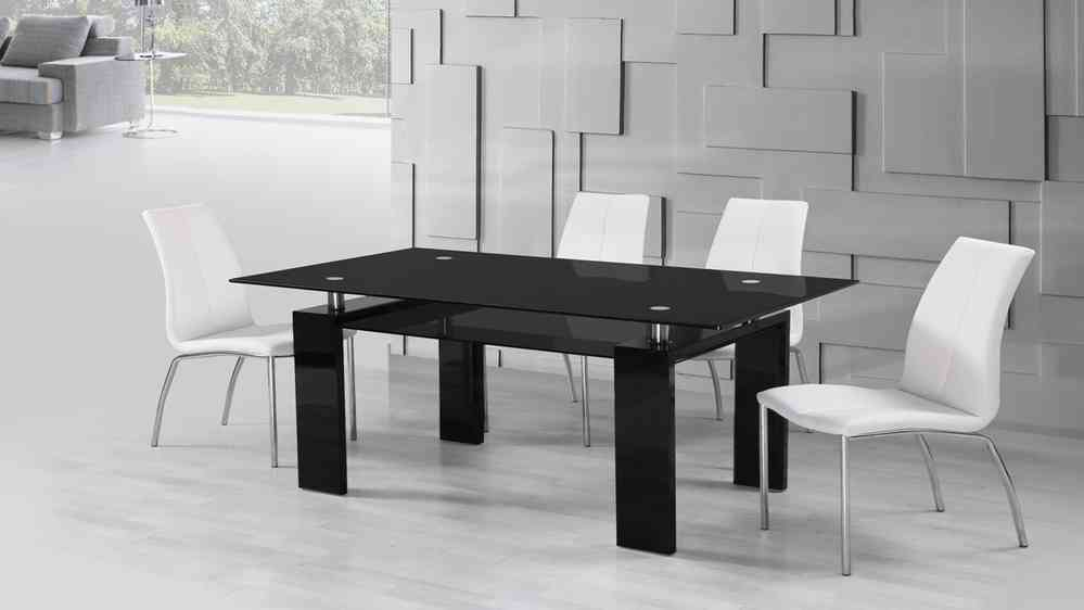 Wondrous Black Glass High Gloss Dining Table And 6 White Dining Chairs Set Caraccident5 Cool Chair Designs And Ideas Caraccident5Info