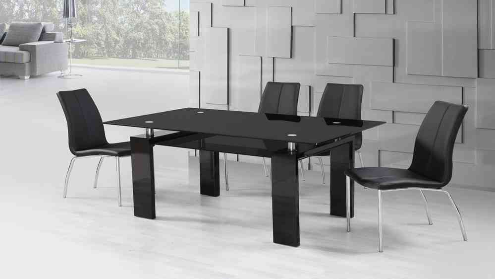 32461744c987a Black High Gloss Glass Dining Table and 4 Black Dining Chairs