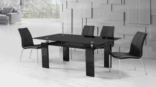 Black High Gloss Glass Dining Table and 6 Black Dining Chairs set