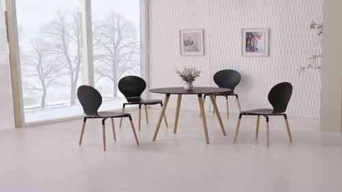 Round Black Wooden Dining Table and 4 Chairs