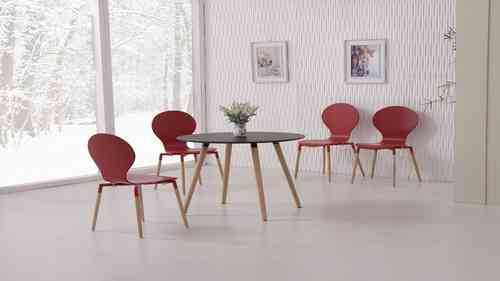 Round Black Wooden Dining Table and 4 Red Chairs