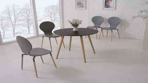 Round Black Wooden Dining Table and 4 Grey Chairs