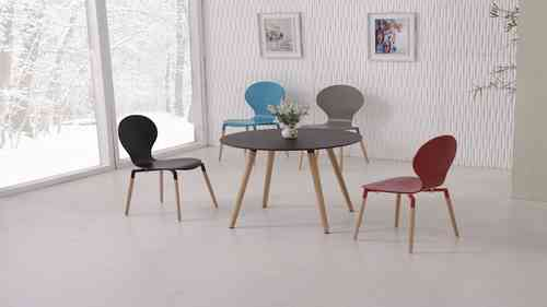 Round Black PU Dining Table and 4 Mix Colour Chairs set
