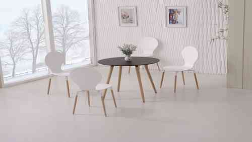 Round Wooden Black Dining Table and 4 White Chairs set