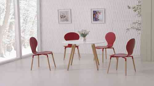 White Dining Table and 4 Red Chairs