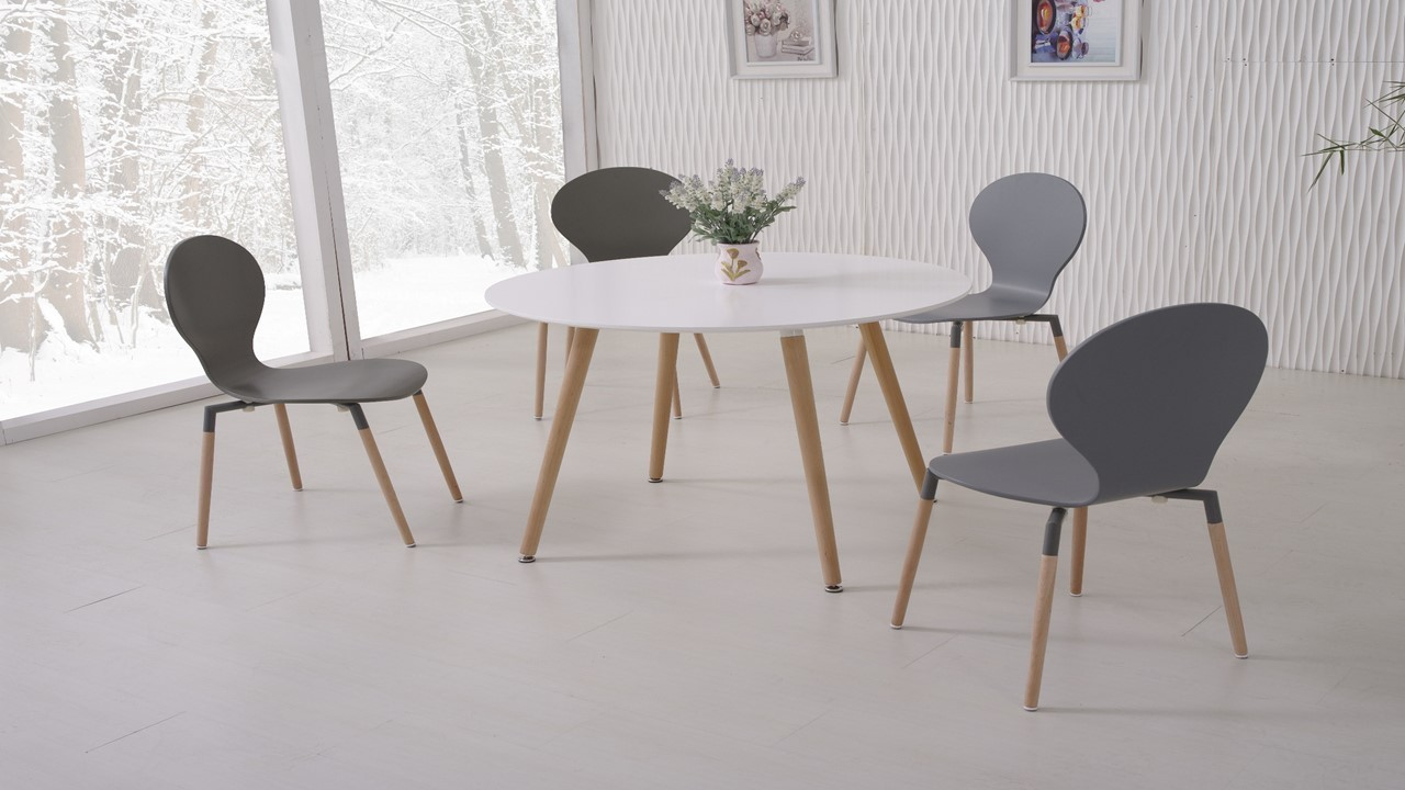 White dining table and 4 grey chairs homegenies for White dining room table and chairs
