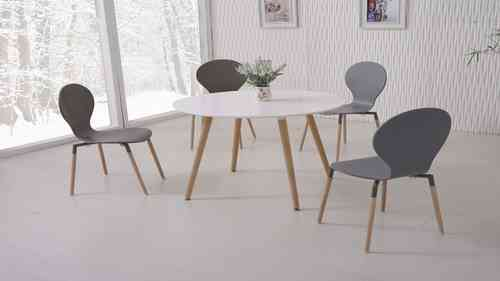 White Dining Table and 4 Grey Chairs